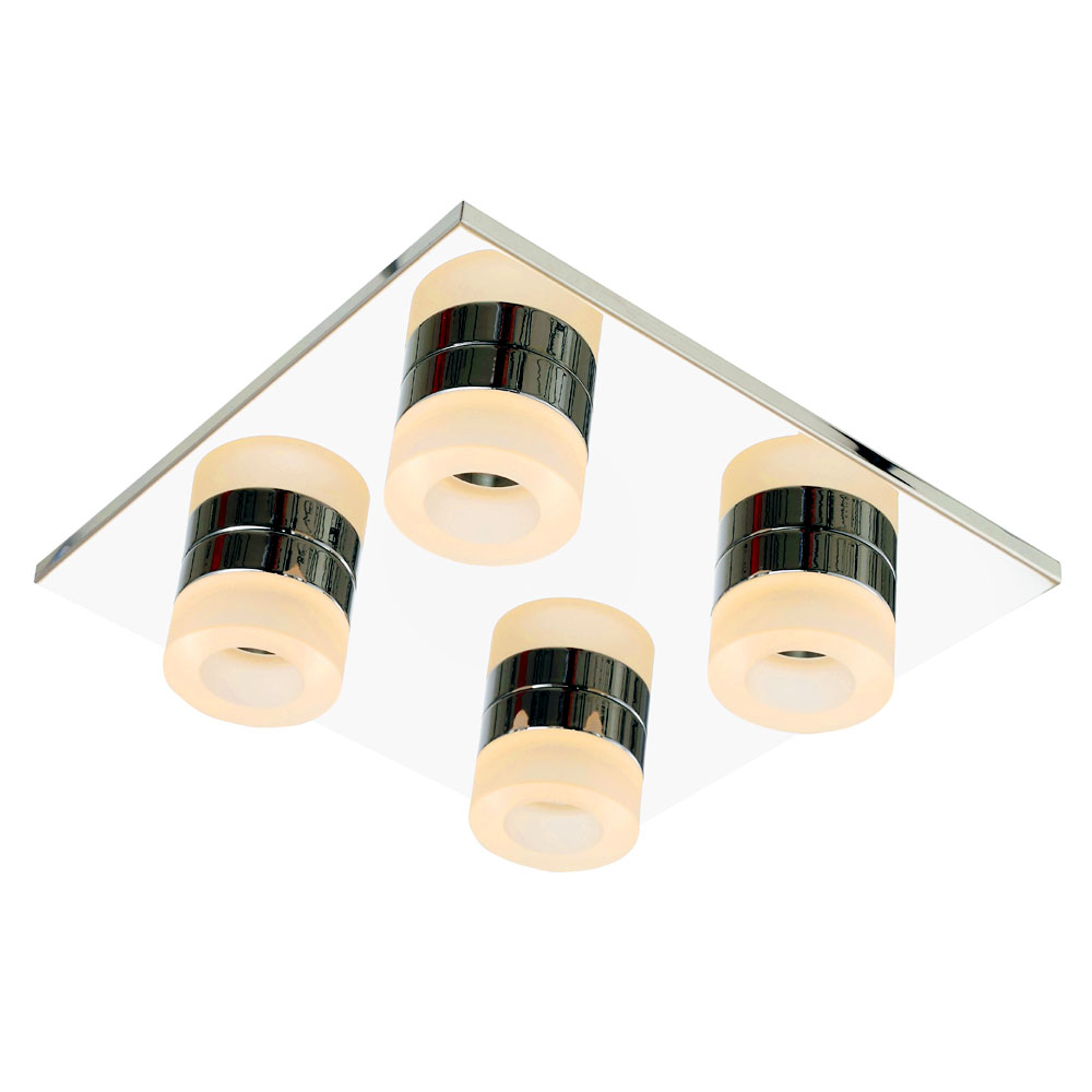 Forum Rhea LED 4 Light Acrylic Ring Bathroom Flush Ceiling Fitting - SPA-23541-CHR Large Image