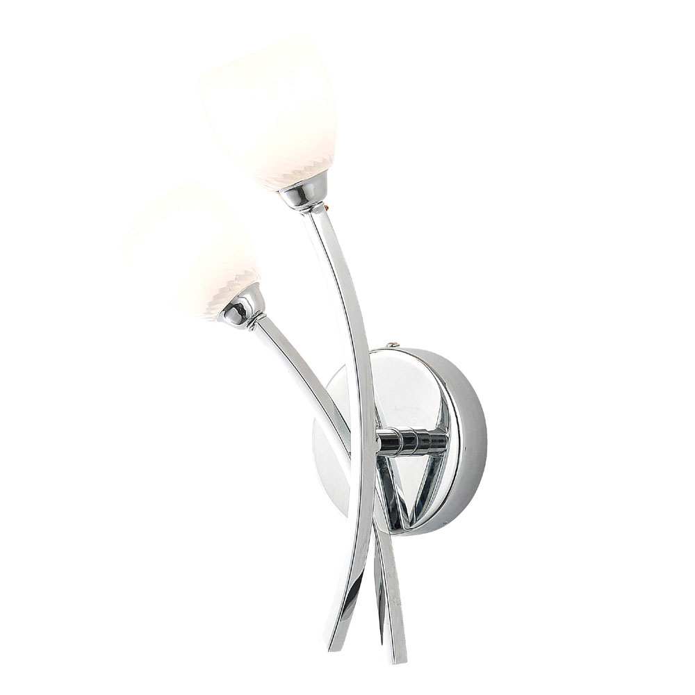 Forum Kate 2 Light Tulip Glass Wall Light - SPA-24693-CHR Large Image