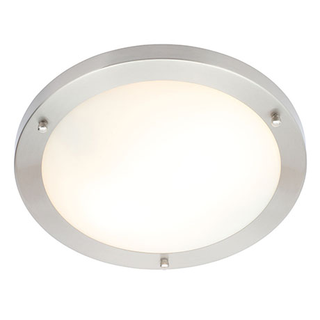 Forum Delphi Large Satin Nickel Flush Ceiling Light Fitting - SPA-34050-SNIC
