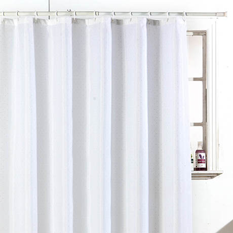 Sparkle W1800 x H1800mm Polyester Shower Curtain - White