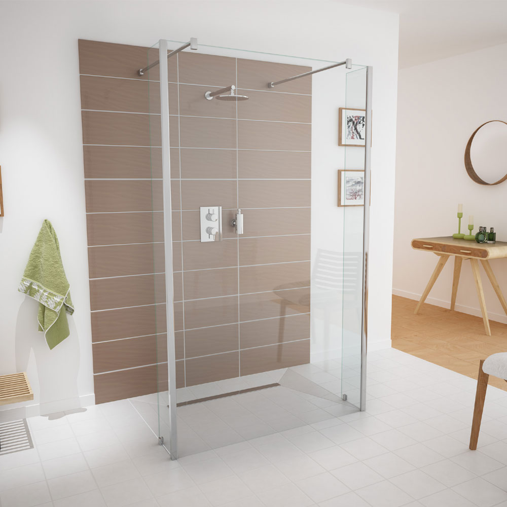 Coram - Stylus Front Glass Shower Panel - Various Size Options Standard Large Image
