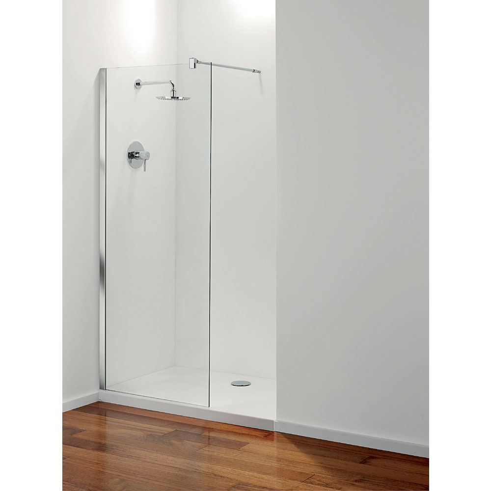 Coram - Stylus Front Glass Shower Panel - Various Size Options In Bathroom Large Image