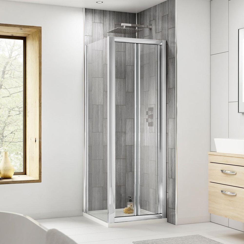 Square Bi-Fold Pacific Enclosure inc. Shower Tray