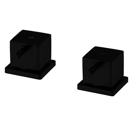 "Arezzo Square Matt Black 3/4"" Deck Bath Side Valves (Pair)"