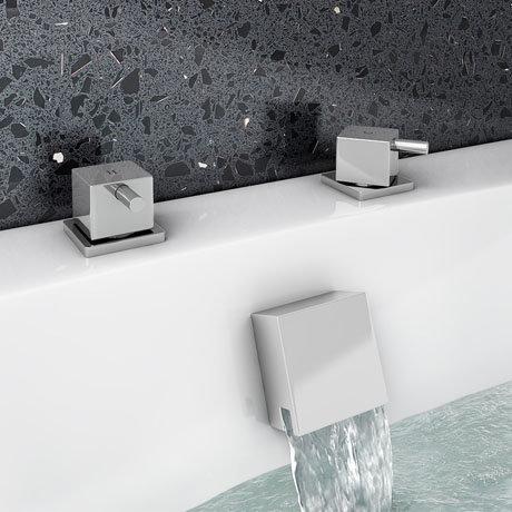 Milan Deck Bath Side Valves with Square Freeflow Bath Filler