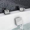 Milan Deck Bath Side Valves with Square Freeflow Bath Filler profile small image view 1