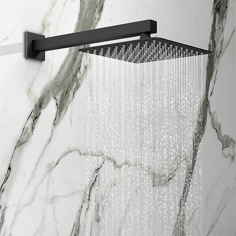 Arezzo Square 200 x 200mm Matt Black Fixed Shower Head + Wall Mounted Arm
