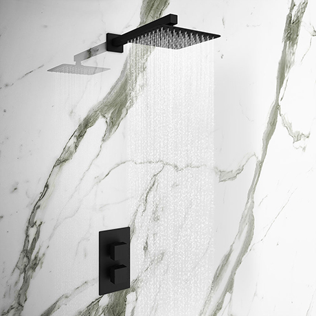 Arezzo Matt Black Square Shower Package with Concealed Valve + Head