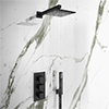 Arezzo Matt Black Square Triple Thermostatic Shower Pack with Head + Handset profile small image view 1