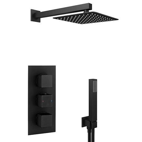 Arezzo Matt Black Square Triple Thermostatic Shower Pack with Head + Handset