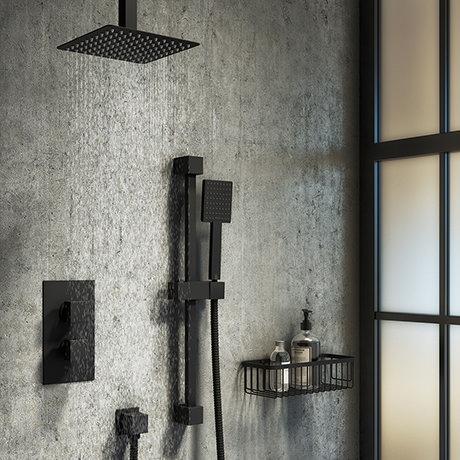 Arezzo Matt Black Square Thermostatic Shower Pack with Head + Slider Rail Kit
