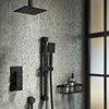 Arezzo Matt Black Square Thermostatic Shower Pack with Head + Slider Rail Kit profile small image view 1