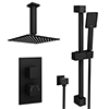 Arezzo Matt Black Square Thermostatic Shower Pack with Head + Slider Rail Kit profile small image view 1
