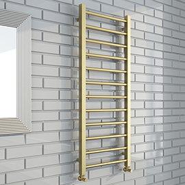 Brooklyn Square 1200 x 500mm Brushed Brass Heated Towel Rail
