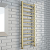 Brooklyn Square 1200 x 500mm Brushed Brass Heated Towel Rail profile small image view 1