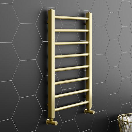 Brooklyn Square 800 x 500mm Brushed Brass Heated Towel Rail