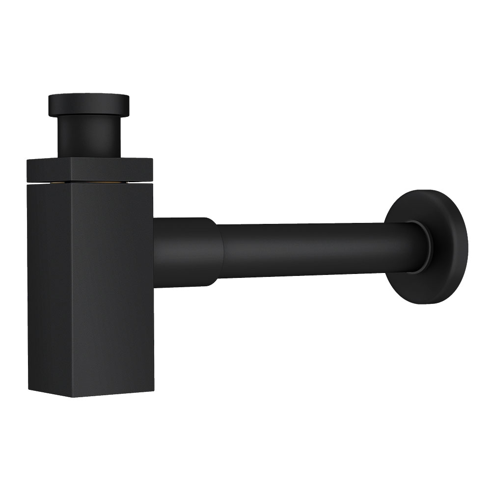 Arezzo Square Matt Black Modern Basin Bottle Trap