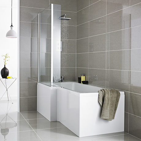 Premier 1500 L-Shaped Shower Bath LH with Acrylic Front Panel + Screen