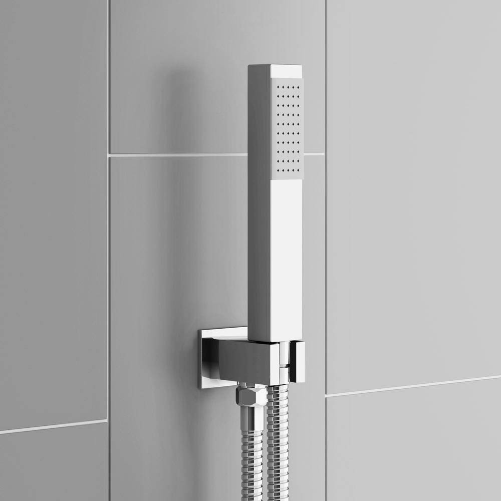 Modern Square Triple Valve with Diverter, Thin Fixed Shower Head, 4 Body Jets + Handset  In Bathroom Large Image