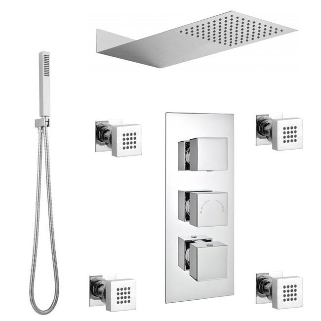 Modern Square Triple Valve with Diverter, Thin Fixed Shower Head, 4 Body Jets + Handset Large Image