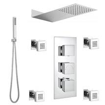 Modern Square Triple Valve with Diverter, Thin Fixed Shower Head, 4 Body Jets + Handset Medium Image