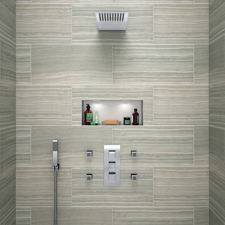 Modern Square Triple Valve with Diverter, Thin Fixed Shower Head, 4 Body Jets + Handset