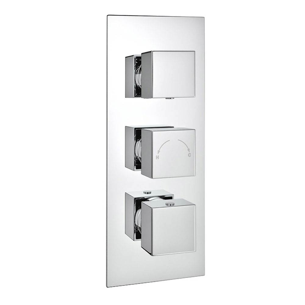 Modern Square Triple Valve with Diverter, Ceiling Mounted Square Shower Head, 4 Body Jets + Slider  In Bathroom Large Image