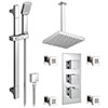 Modern Square Triple Valve with Diverter, Ceiling Mounted Square Shower Head, 4 Body Jets + Slider profile small image view 1