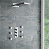 Modern Square Triple Valve with Diverter, Fixed Water Blade Shower Head + 6 Body Jets profile small image view 1