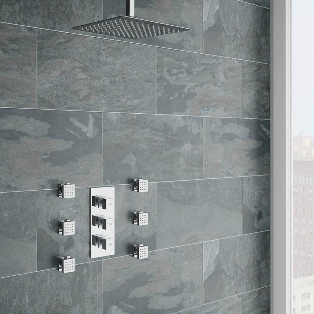 Modern Square Triple Valve with Diverter, Ceiling Mounted Square Shower Head & 6 Body Jets Large Ima