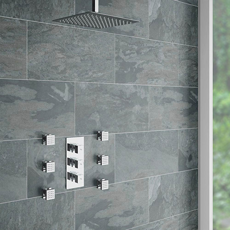 Modern Square Triple Valve with Diverter, Ceiling Mounted Square Shower Head & 6 Body Jets