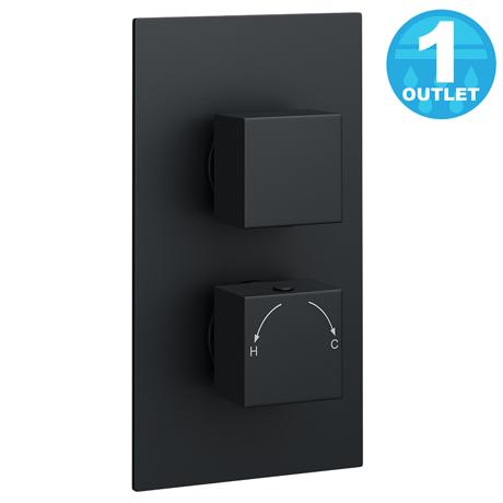 Arezzo Square Modern Twin Concealed Shower Valve - Matt Black