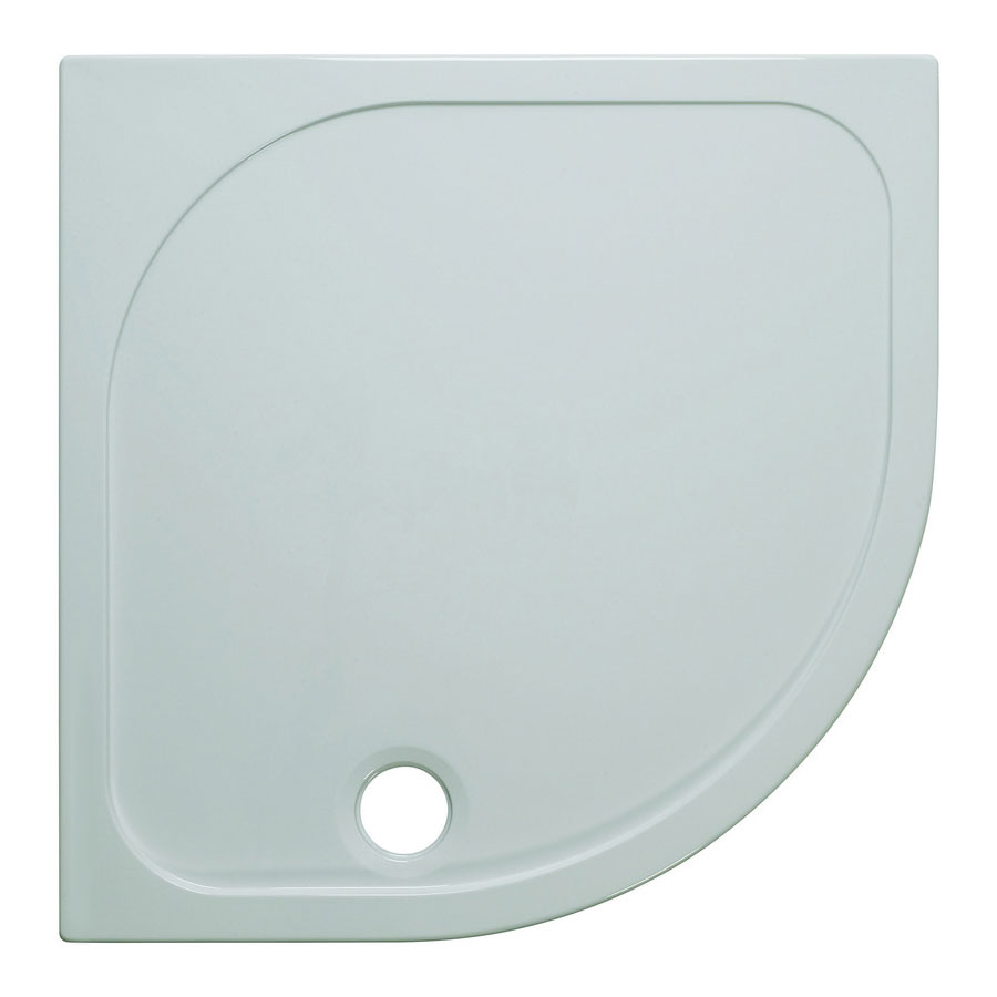 Simpsons Quadrant 45mm Low Level Stone Resin Shower Tray with Waste - Various Size Options Large Image