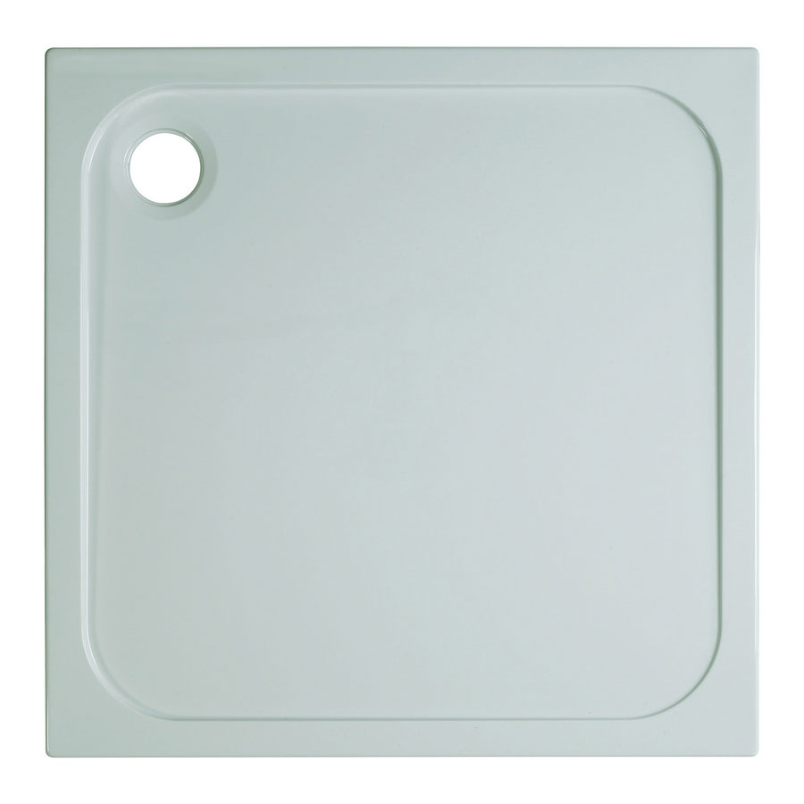 Simpsons Square 45mm Low Level Stone Resin Shower Tray with Waste - Various Size Options Large Image