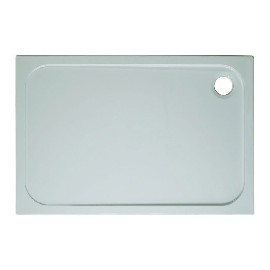 Simpsons Rectangular 45mm Low Level Stone Resin Shower Tray with Waste - Various Size Options Large Image