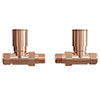 Modern Rose Gold Straight Radiator Valves profile small image view 1