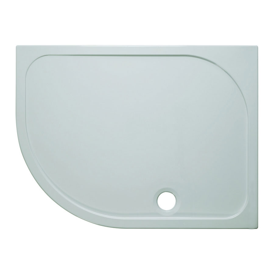 Simpsons Offset Quadrant 45mm Low Level Stone Resin Shower Tray with Waste - Left Hand - Various Size Options Large Image