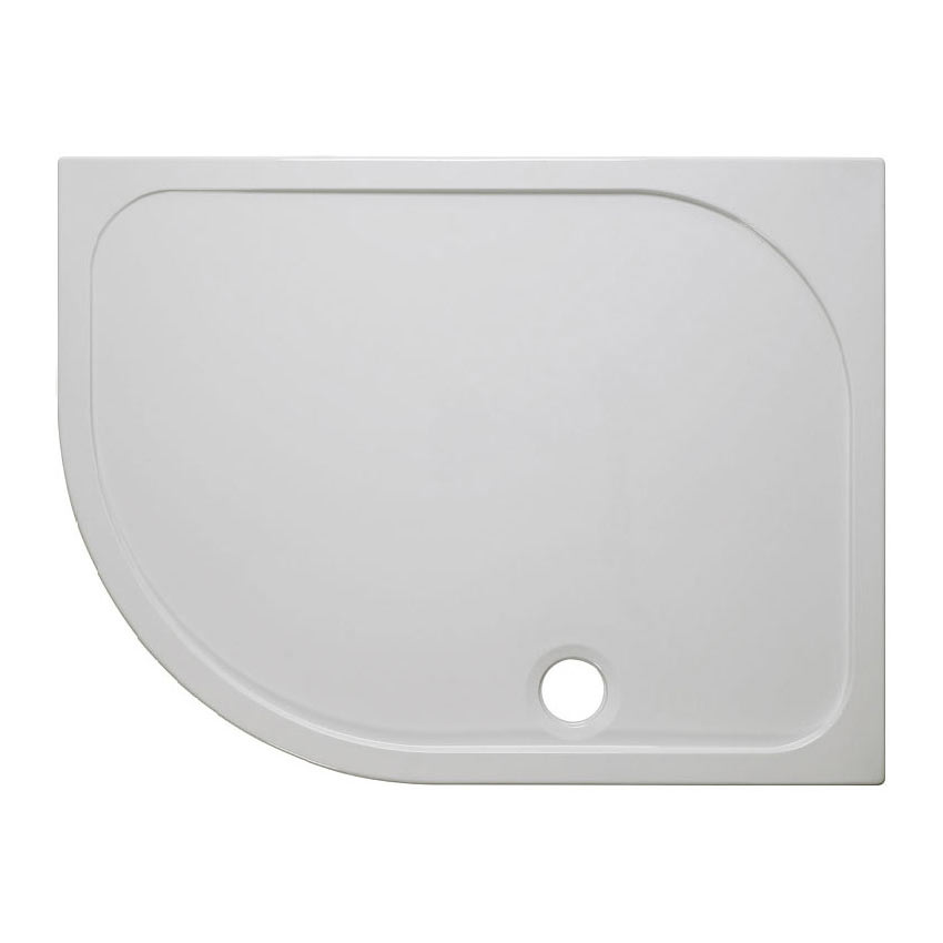 Crosswater Offset Quadrant 45mm Low Level Stone Resin Shower Tray with Waste - Left Hand - Various Size Options