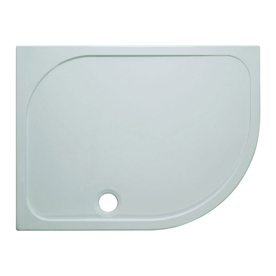 Simpsons Offset Quadrant 45mm Low Level Stone Resin Shower Tray with Waste - Right Hand - Various Size Options Large Image