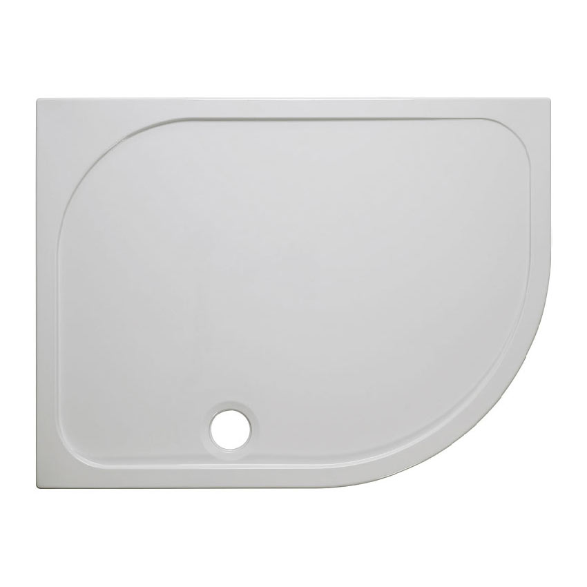 Crosswater Offset Quadrant 45mm Low Level Stone Resin Shower Tray with Waste - Right Hand - Various Size Options
