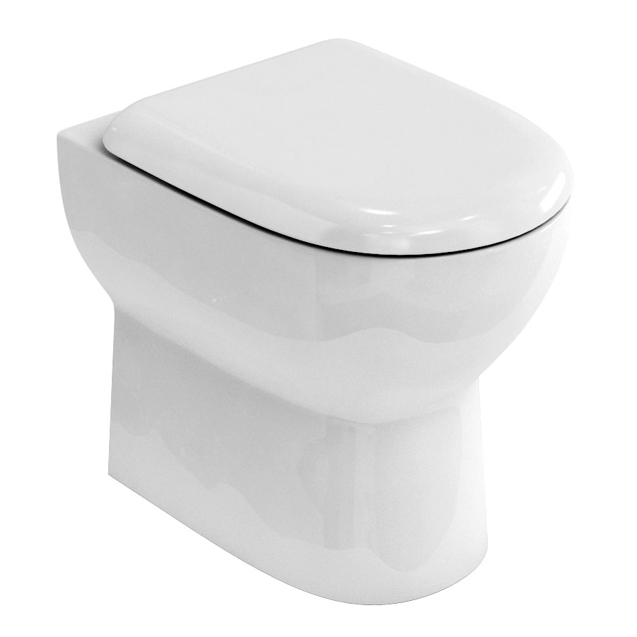Britton Bathrooms - Compact Back to Wall WC with Soft Close Seat Large Image