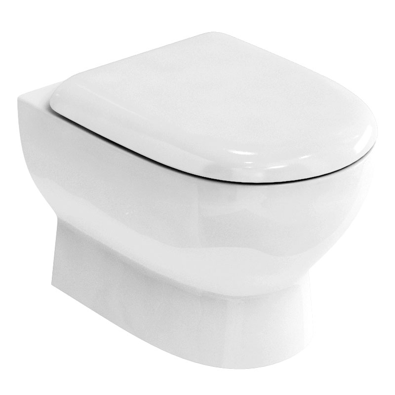 Britton Bathrooms - Compact Wall Hung WC with Soft Close Seat Large Image