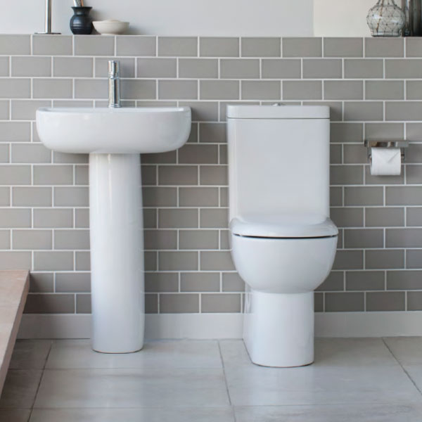 Britton Bathrooms - Compact Close Coupled Toilet & Soft Close Seat profile large image view 2