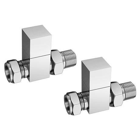 Square Straight Radiator Valves - Chrome