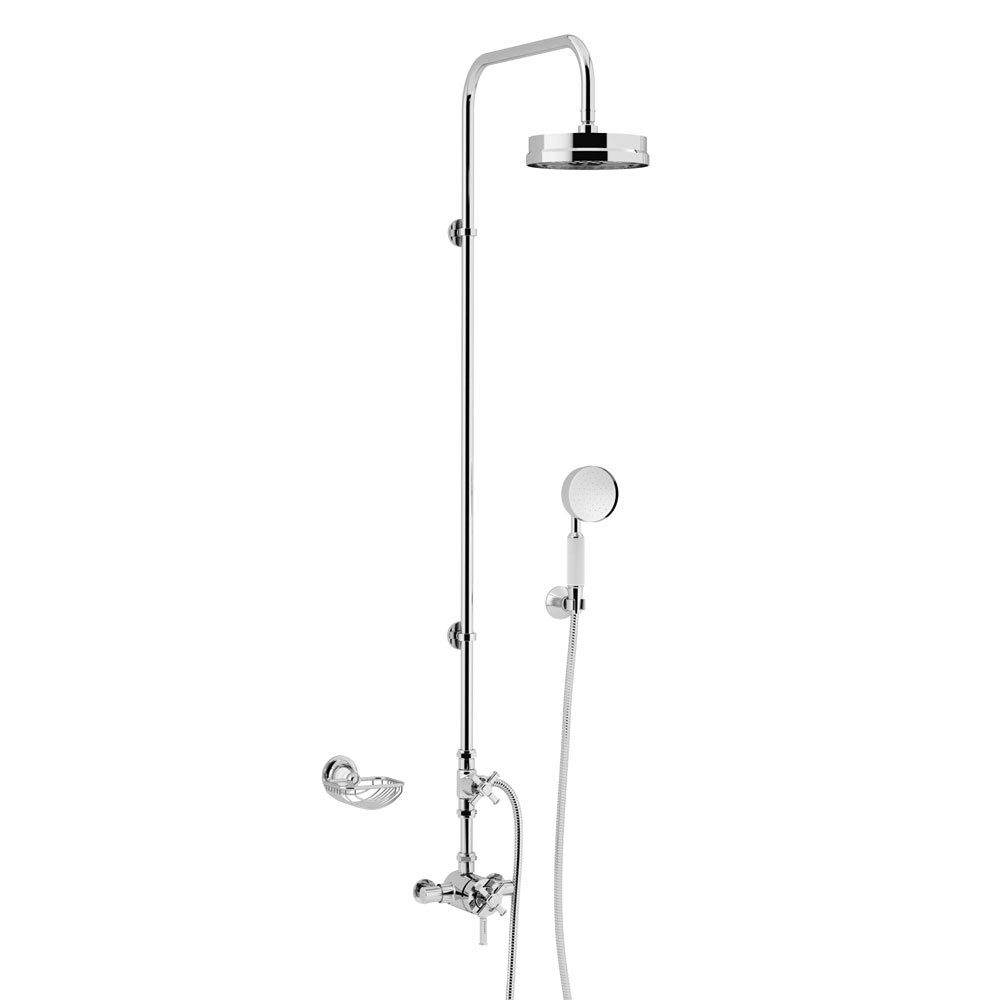 Heritage Somersby Exposed Shower with Deluxe Fixed Riser Kit & Diverter to Handset - Chrome - SSOBDU