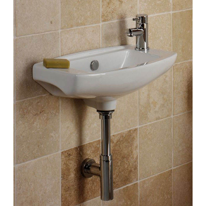 Tavistock Micra 510mm Slimline Ceramic Basin & Bottle Trap - Left or Right Hand Option profile large image view 3