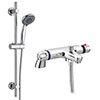 Modern Chrome Thermostatic Bath Shower Mixer Tap + Slider Shower Rail Kit profile small image view 1
