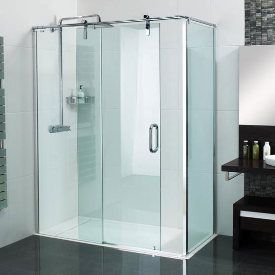 Roman Sculptures Sliding Shower Door with Side Panel Large Image