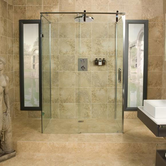 Roman Sculptures Sliding Shower Door with Two Side Panels Large Image