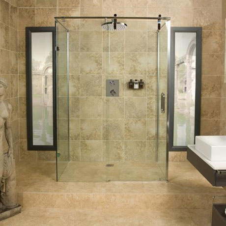 Roman Sculptures Sliding Shower Door with Two Side Panels